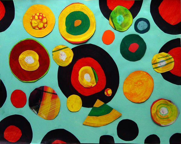 Uma composição feita com recortes de materiais pintados por nós dois