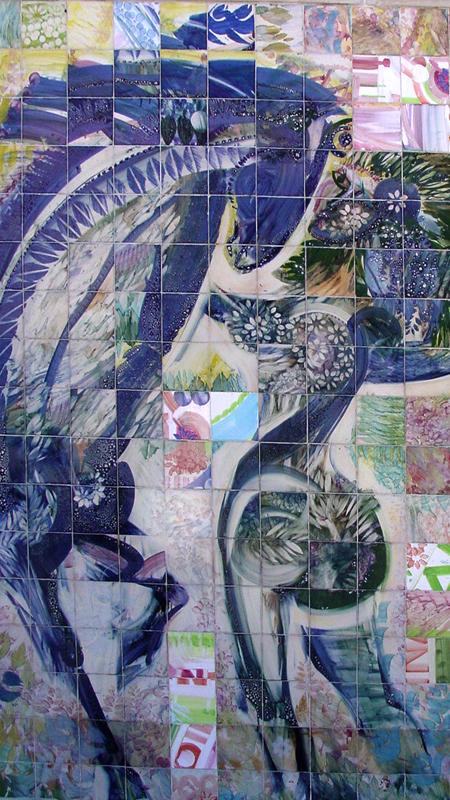 Foto de minha autoria dos painéis exteriores de Ferreira da Silva no IPO/Coimbra