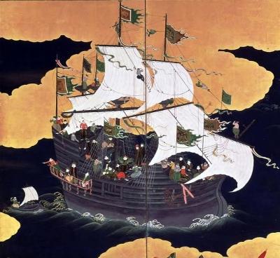 Uma nau portuguesa do Sec. XVII em Nagasaki, no Japão.