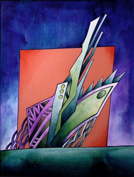 """da série """"...a barca dos remos de esquecimento...""""  - acrílico s/ tela s/ platex, Costa Brites, 2000"""