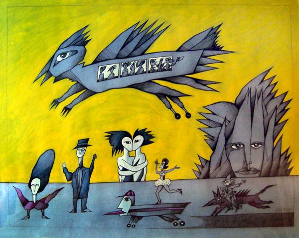 Ah, não ter sido Madame de harem!.../desenho s/ Steinbach-Malmedy c/ aguada de acrílico/ Costa Brites 1995