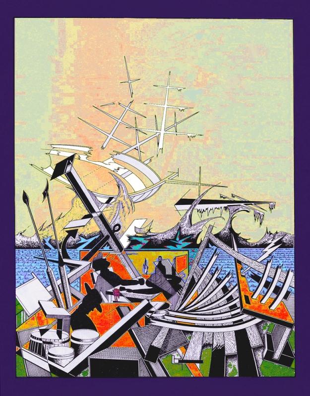 """um desenho original, a negro, de Rogério Silva (""""esquecendo tempestades""""), resultante de uma colaboração entre nós ambos (ver, por favor, Rogério Silva visto pelos meus olhos)."""
