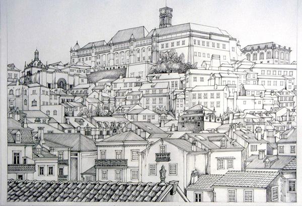Composição com invenções diversas, desenho sobre Coimbra, Costa Brites
