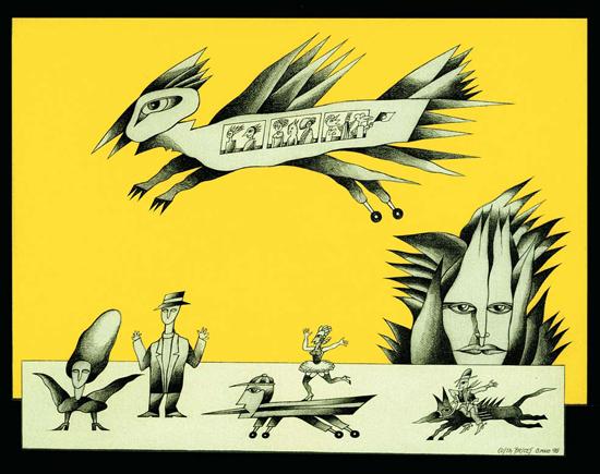 Ah, não ter sido Madame de harem!.../grafite e acrílico s/ tela/ Costa Brites 1996