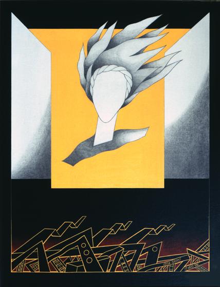 o oiro e o vento, grafite e acrílico s/ tela s/ platex, Costa Brites 1996