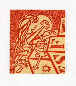 Fantoches, linóleo, Augusto Mota, 1963