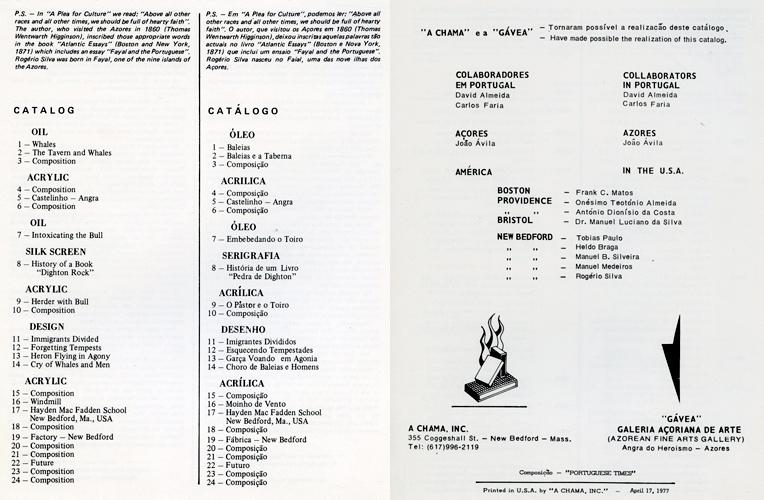 Exposição Rogério Silva, Biblioteca Pública da cidade de New Bedford, Abril 1977