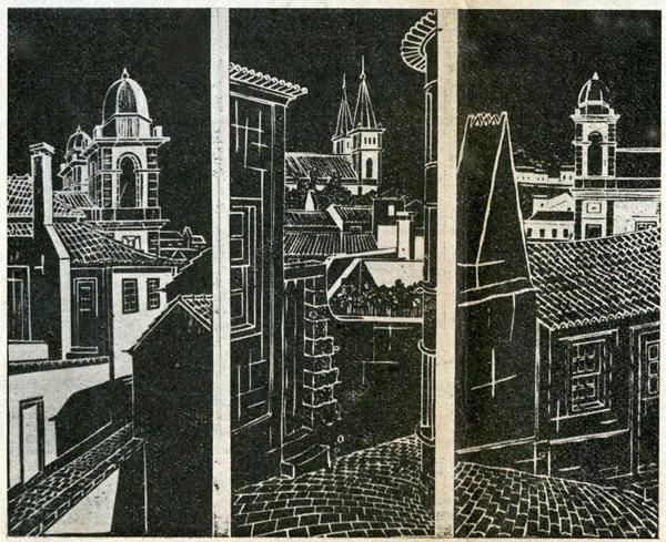 """Tríptico, (xilogravura), reproduzido na capa do diário """"A União"""" de Angra do Heroísmo de 14 de Junho de 1969, Rogério Silva"""